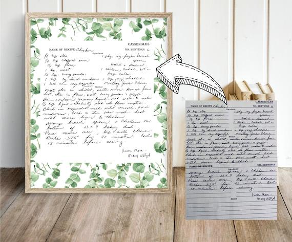 8x10 Framable handwritten notes Actual handwriting print Keepsake gift Transferred handwriting Personalized handwritten gift