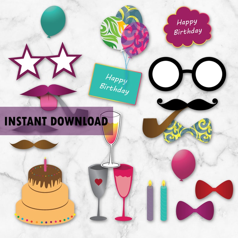 Fun Colors Photo Props Colorful Birthday Party 47 Photo Props Happy Birthday Photo Props Printables Birthday Party Accessories Digital