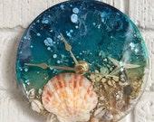 Beach resin clock