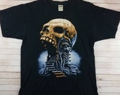 Vintage 2000s Stairway To Hell Original Wes Benscoter Anvil Mad Punk Skull Skate BMX Tee Shirt Size Large In Good Condition