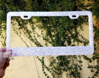 Bright white rainbow glittered license plate frame| Custom license plate frame| Cute car accessories| Car accessories for women
