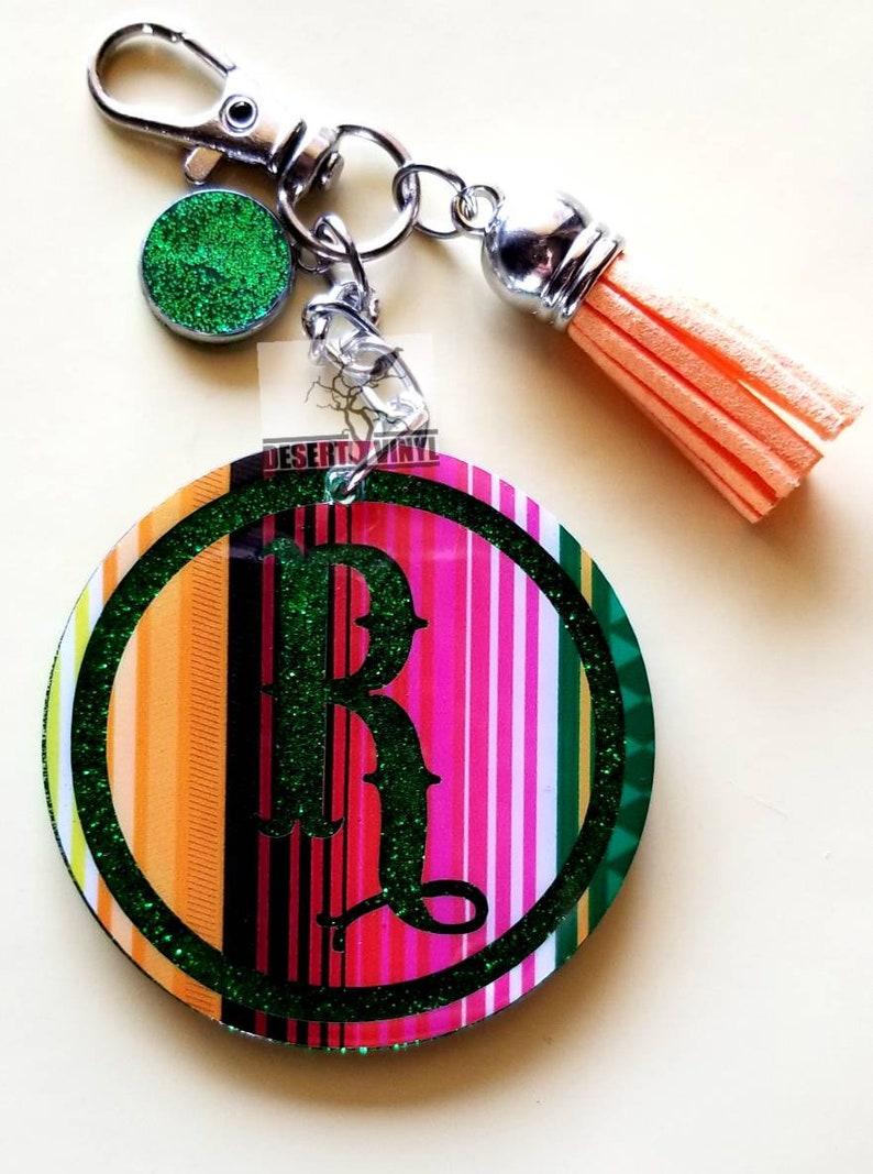 Round serape initial keychain Striped western keychain Southwestern serape keychain Glitter and letter keychain