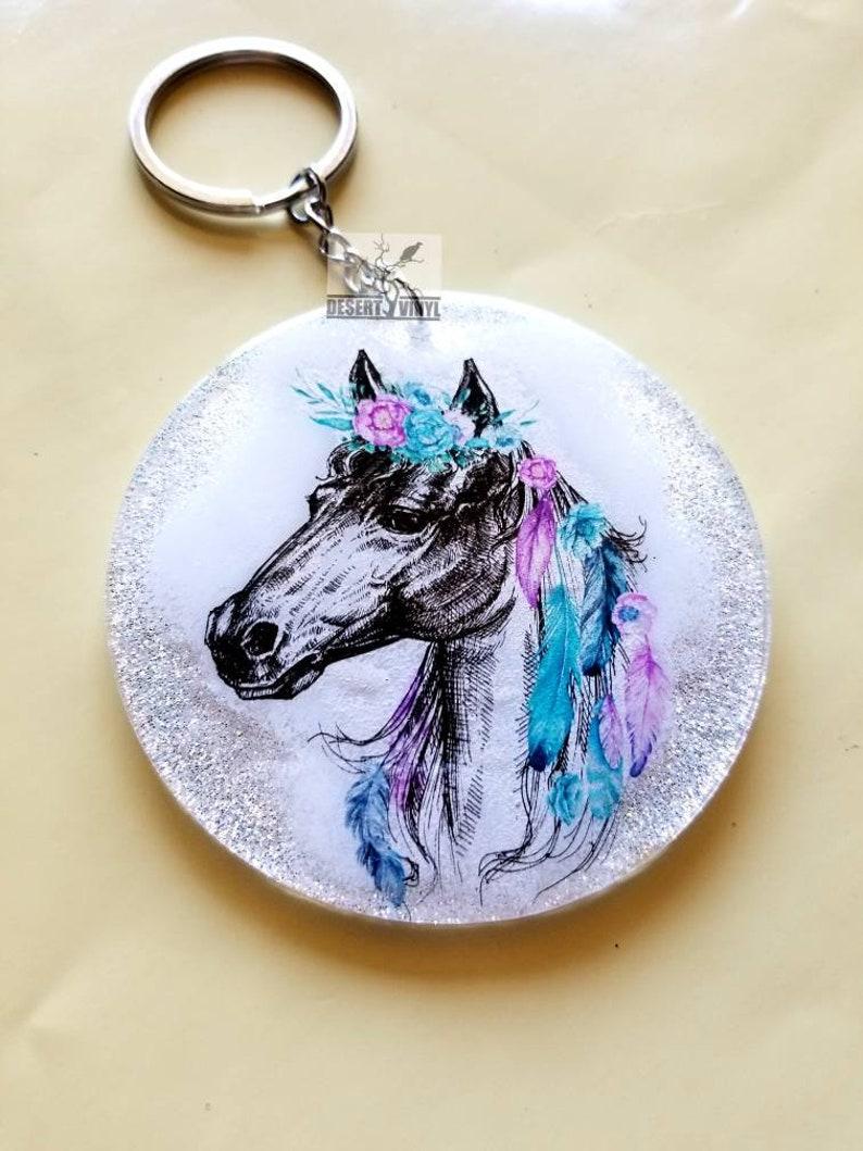 Glitter and flower keychain Hippy keychain White boho horse with flowers keychain Southwestern floral keychain