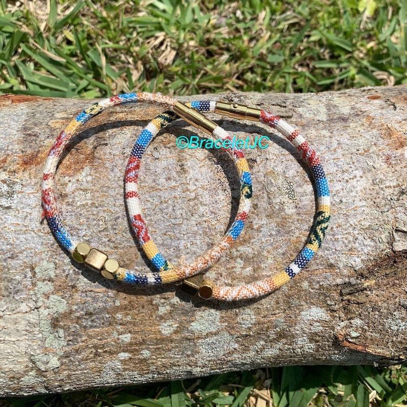 Metal alloy beads Ethnic Cotton Cord Bracelet Gift for Him Unisex bracelet Tribal bracelet Stainless Steel Gold Plated  Magnetic Clasps