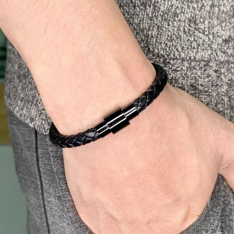 6mm Braided Leather Cord Bracelet Men/'s Leather Bracelet,Boyfriend Gift,For Him,For Her  Unisex Bracelet, Stainless Steel Magnetic Clasps