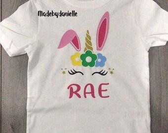 159a93996 Girls personalised Unicorn bunny T-shirt