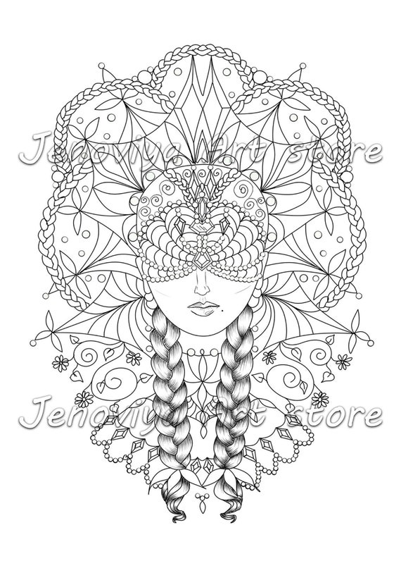Coloring sheet colouring page Printable coloring book adult coloring book  PDF coloring printable pdf Russian beauty by JenoviyaArt