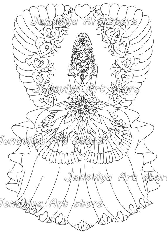 Coloring sheet colouring page Printable coloring book adult coloring book  PDF coloring printable pdf the bride by JenoviyaArt
