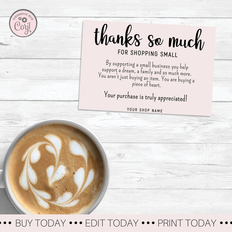 Pink Thank You For Shopping Small Card Simply Thank You For Order Packaging Cards Pale Pink Business Thank You Card Support Small Business