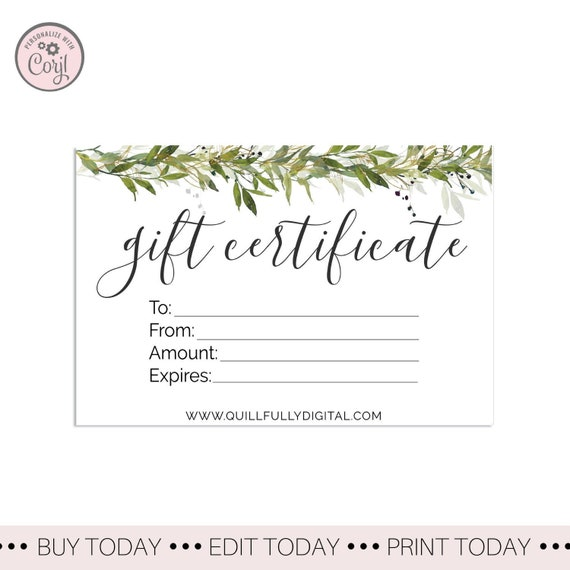 Printable Gift Certificate Template Diy Greenery Gift Card Etsy Gift Certificate Custom Gift Card Design Set Of 3 Greenery Card Inserts