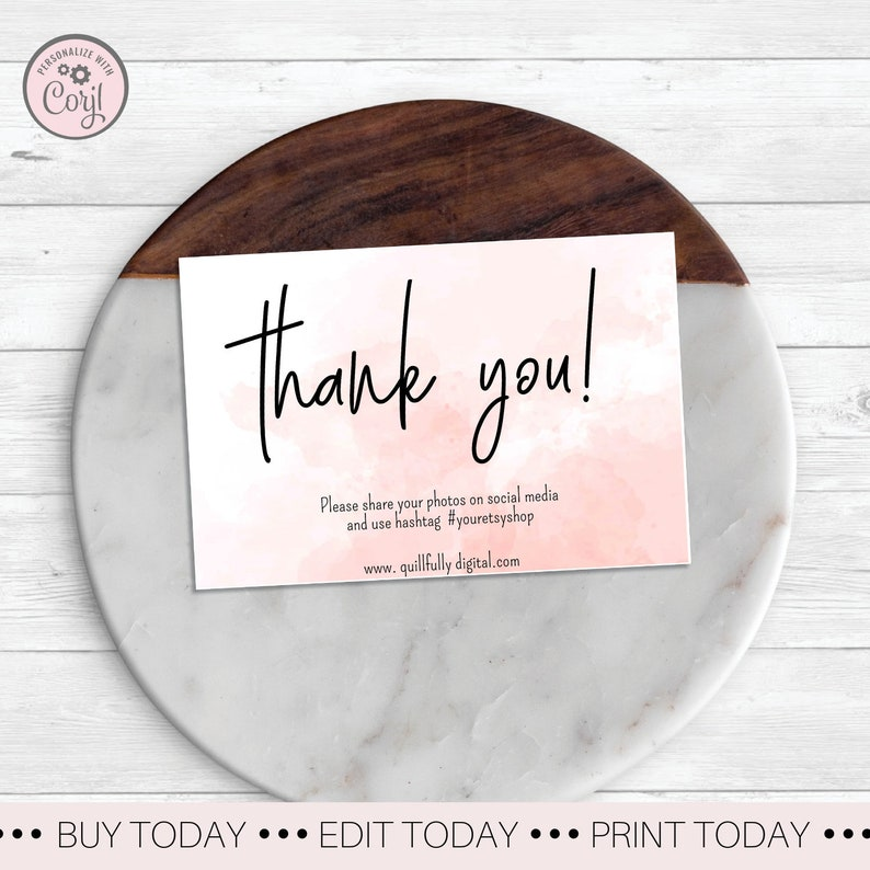 Pink Water Color Thank You Shopping Card Business Thank You Card Pink Packaging Card Social Media Custom Packaging Card Thank You Customer