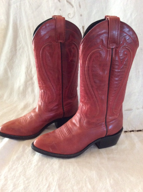 Vintage Red Women's Cowboy Western Boots 6B
