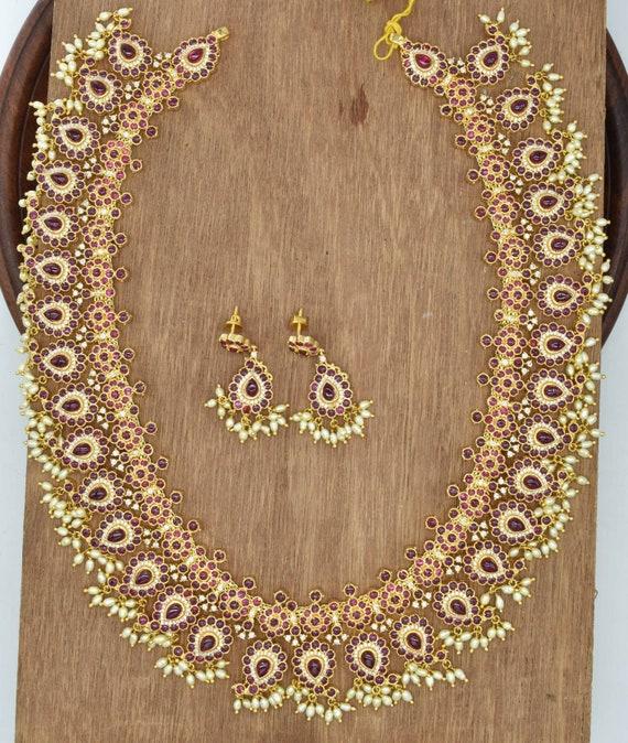 Kemp mango necklace with guttipoosalu pearls