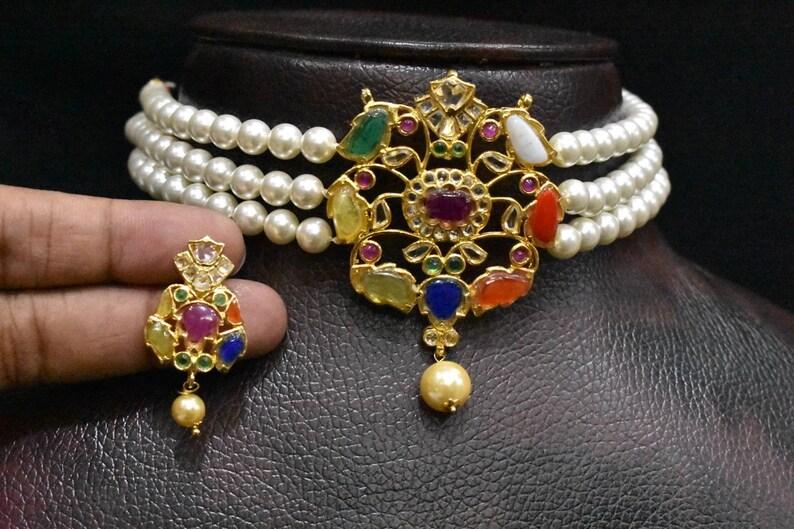 beautiful real navratna handmade pendent set choker