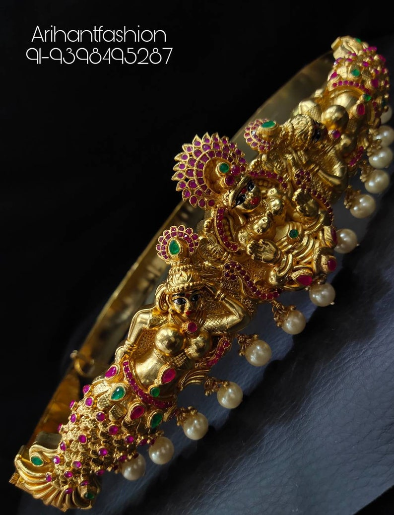 Beautiful handmade temple finished traditional south Indian Hip belt