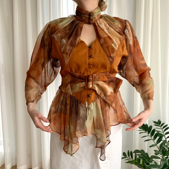 1980s Blouse with Bodice and Ruffled Plissé Sheer
