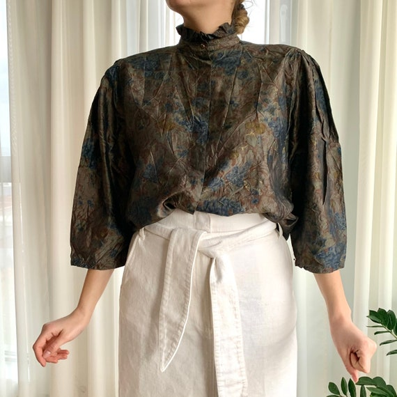 Christian Dior High-Neck Silk Blouse