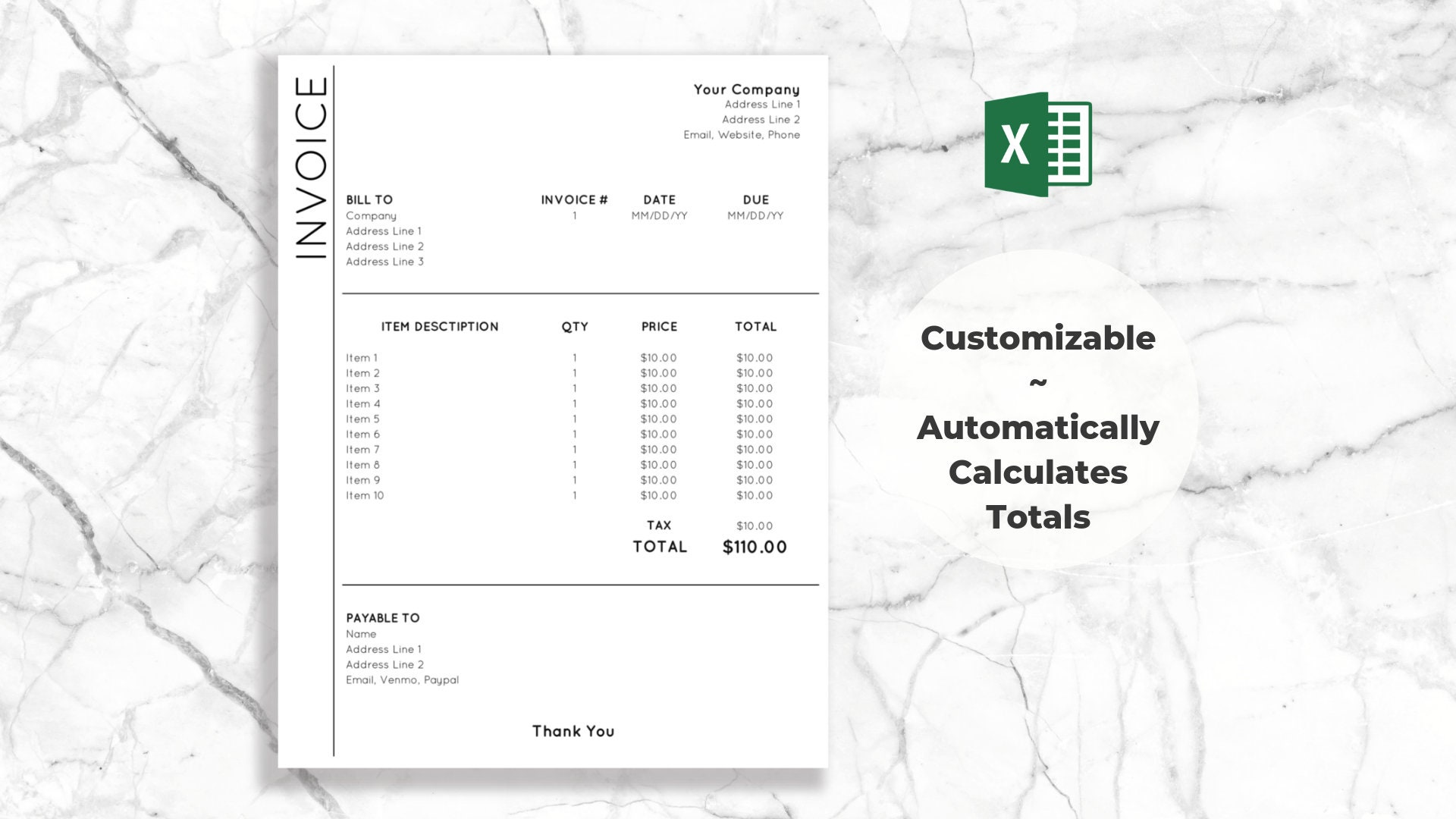 Dropdown Invoice Template For Excel Clean Modern Design Etsy