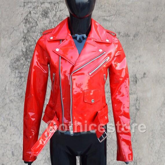 Gothic Moto Vinyl PVC Motorcycle Jacket Red Shinny Punk Fetish EMO Biker Jacket