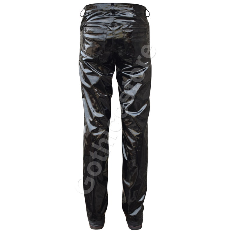 Gothic PVC Vinyl Pant Gothic Shinny Trouser Black Punk Rocker EMO Pant