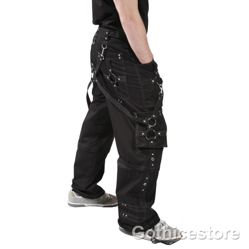 Men Gothic Cyber Trouser Bondage Pant Punk Shorts Metal Rock Pant Trouser