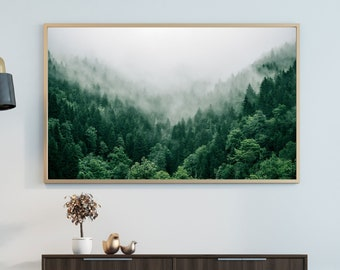 Foggy mountain forest Poster Print | Forest poster print | Nature art prints | Green poster prints | Tree art prints | Forest wall art