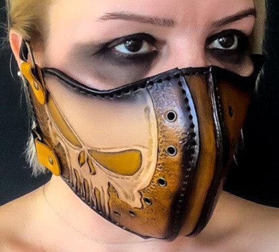Custom leather face mask.