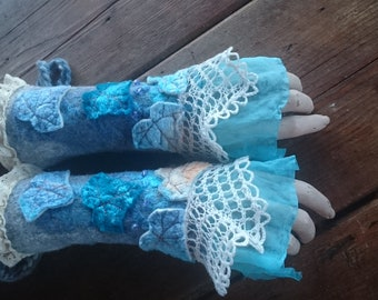Mermaid Cuffs-woodland cuffs-heaven blue gloves-Pixie Cuffs-gloves-elf-Faerie Cuffs-armwarmers-felted cuffs-OOAK-blue cuffs
