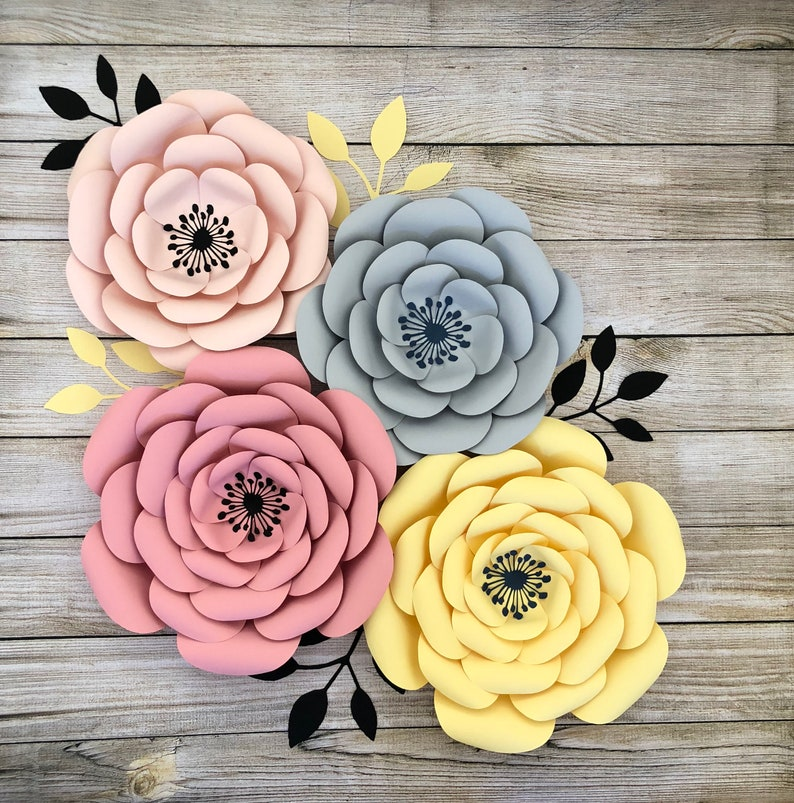 Pdf Paper Flower Template Diy Paper Flower For Event Decor And Wedding Decor Printable Trace And Cut Files Handmade Home Decor Flowers