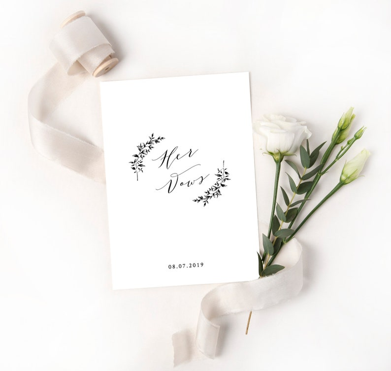 Simple Wedding Vows.Elegant And Simple His And Hers Wedding Vows Booklet With Cursive Calligraphy Black White Printable Template Editable In Templett Mel