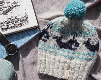 1a44e280eca0b Icelandic wool hat. Handmade knitwear from Icelandic wool. Warm wool hat  with whales. Wool knitted hat. Grey and blue hat. Whales lover.