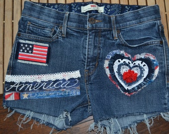 f6bbeeefad Womens Levi Jean Shorts, Levis Patchwork Independence Day Shorts, American  Flag Shorts, 4th Of July Shorts, USA Jean Shorts, America Jeans