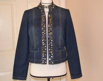 c20cc43692c7 Customized Boho Jean Jacket Studded Jean Jacket Womens Denim Jacket  Rhinestone Decorated Jacket Embellished Chico Jacket Classy Jean Jacket