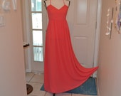Vintage Badgley Mischka Dress Size 8 Peach Formal Gown Prom Dress Mother of the Bride Floor Length Coral Chiffon Maxi Column Thin Straps