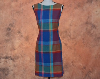 27c405fd1ca Betsey s Things Womens Plaid Sheath Dress Vintage Betsey Johnson Blue and  Purple Plaid Housewife Frock