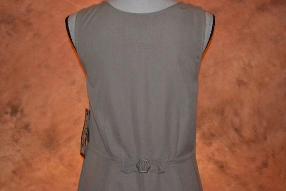 Vintage Women's Pinafore Dress Khaki High Grade T… - image 8