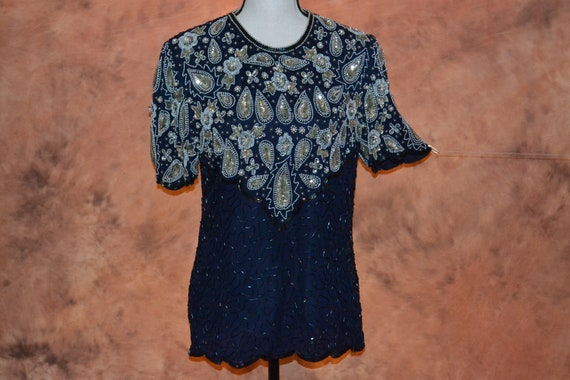 Laurence Kazar 1990s Beads /& Sequence Blouse Size XL Scalloped Edge Vintage Women/'s Fashion Clothing vc2