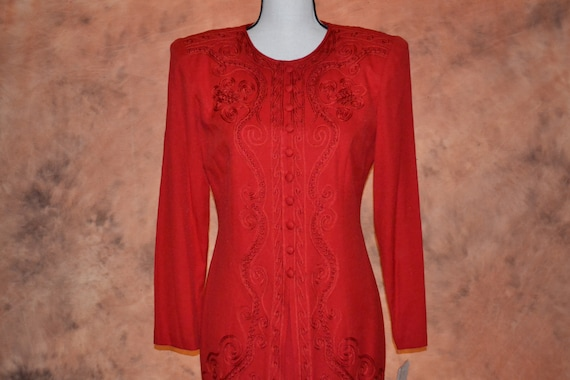 Vintage 80s Karin Stevens New Old Stock w Tags Bright Red Dress Suit Coat Dress One Piece Amazing Embroidery and Ribbon Work Womens Dress
