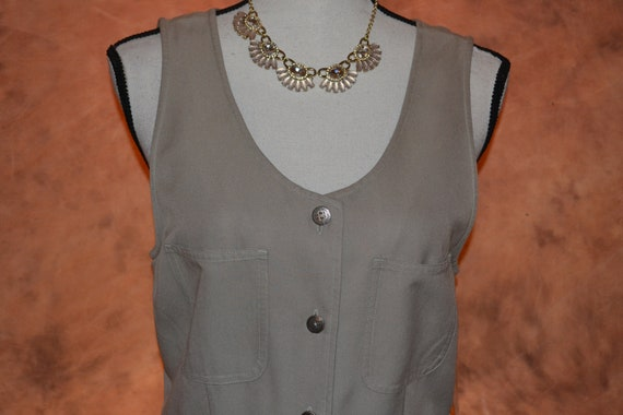 Vintage Women's Pinafore Dress Khaki High Grade T… - image 3