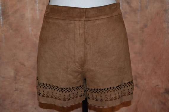 Womens Tribal Shorts Cut Out Shorts, Brown Suede-l