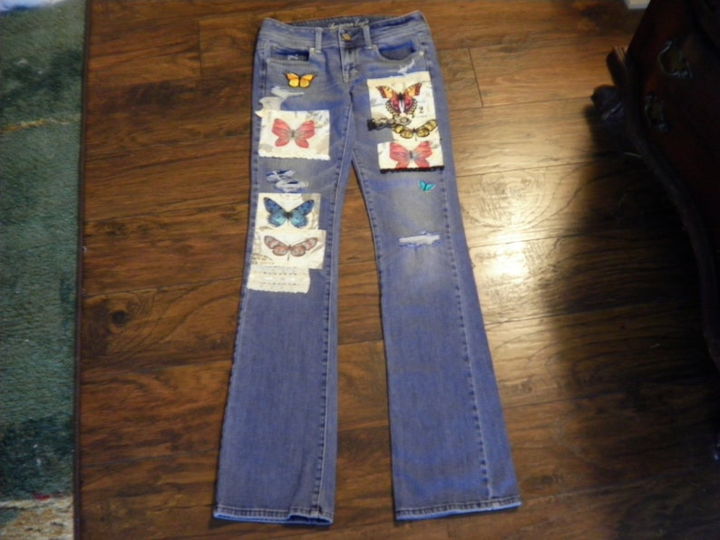 American Eagle Jeans With Butterflies Decorated Jeans Embellished Vintage  Butterfly Hippie Jeans with Patches Patchwork Patched Tattered