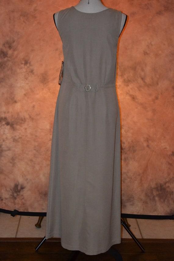 Vintage Women's Pinafore Dress Khaki High Grade T… - image 6