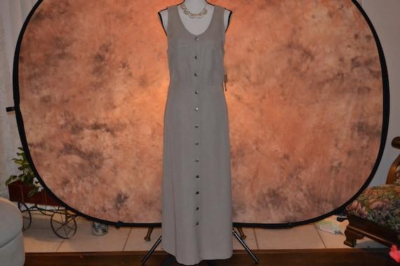 Vintage Women's Pinafore Dress Khaki High Grade T… - image 1