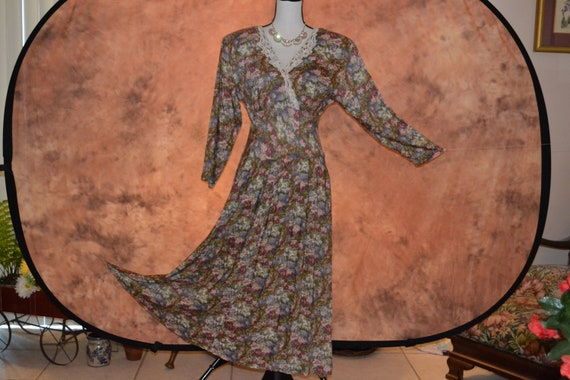 Vintage 80s All That Jazz Prairie Dress Women's Floral Print Long Sleeve Victorian Full Length Maxi Peasant Gypsy Dress