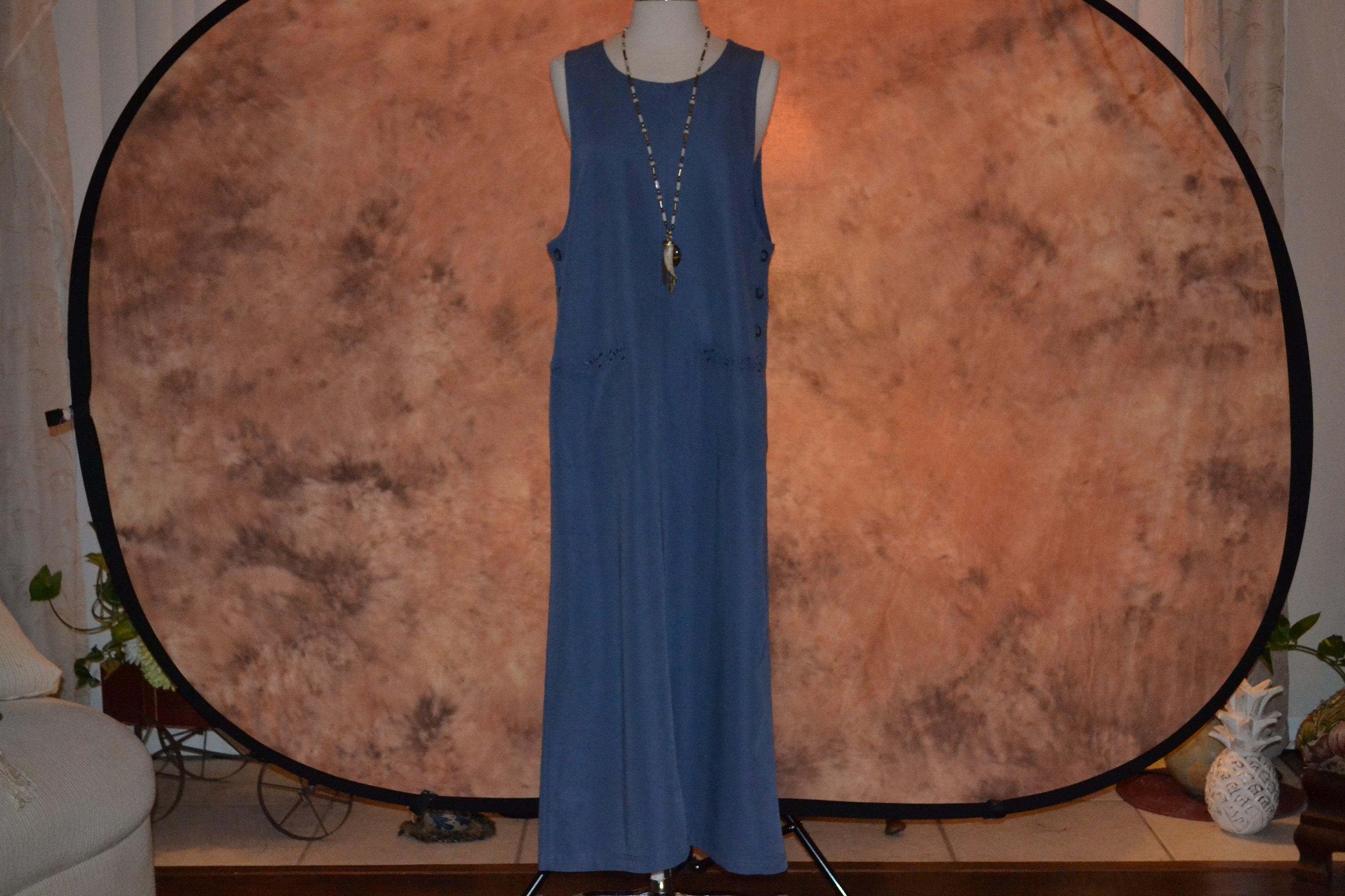 Vintage Scarf Styles -1920s to 1960s Pinafore Vintage Womens Wedgewood Blue Maxi Dress Long Pockets Ribbed $0.00 AT vintagedancer.com