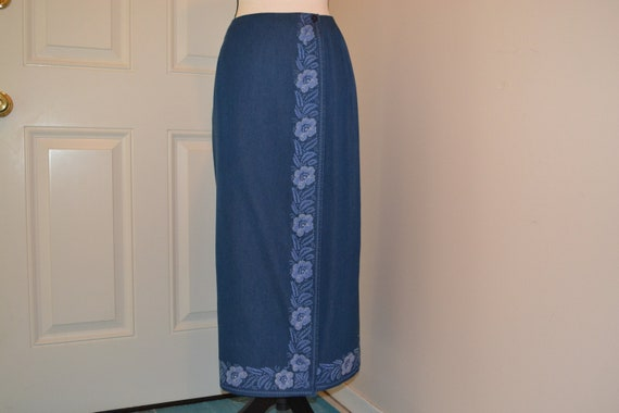 Maxi Denim Wrap Skirt, Vintage Maxi Denim Skirt, D