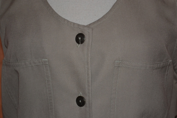 Vintage Women's Pinafore Dress Khaki High Grade T… - image 10