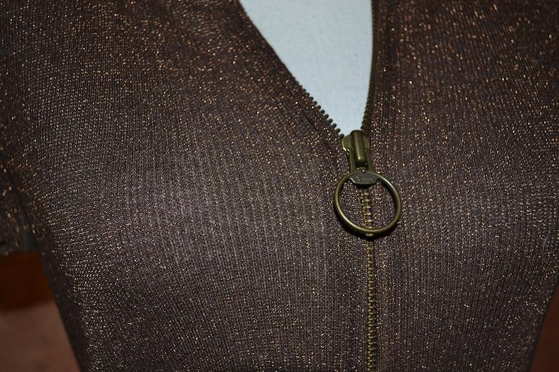 Ladies Vintage Old Navy Short Sleeve Sweatshirt Hoodie Pockets Mod Zip Front Hooded Sweatshirt Copper Metallic Thread Sweater Brown Sparkle
