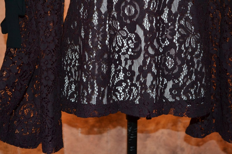 Vintage 90s Anne Taylor Plum Lace Blouse Bell and Embellished Sleeves Black Chiffon Bows Mid Sleeve High Collar Shirttail Hemline Loft