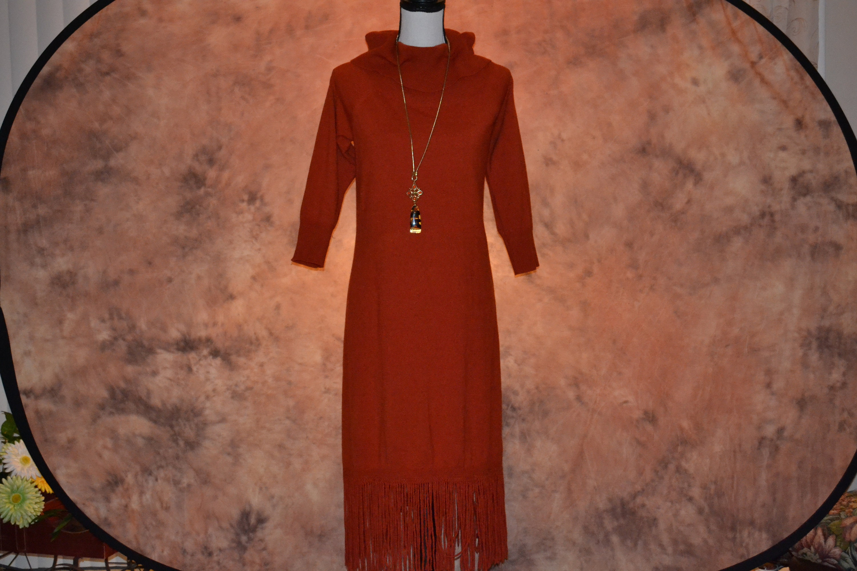Vintage Scarf Styles -1920s to 1960s Womens Sweater Dress Vintage Burnt Orange Large Cowl Neck Midi Winter With Fringe Boho 60S Style $0.00 AT vintagedancer.com